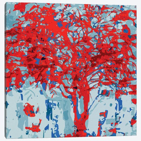 Red Pink Tree Canvas Print #GHL19} by George Hall Art Print