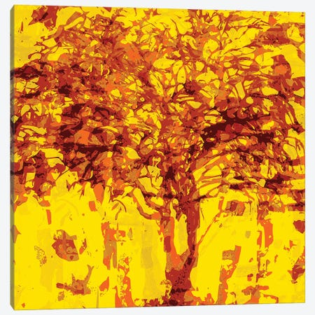 Yellow Tree Canvas Print #GHL21} by George Hall Canvas Artwork