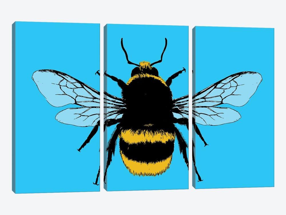 Bee Mine - Blue by Gary Hogben 3-piece Canvas Wall Art