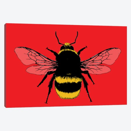 Bee Mine - Red Canvas Print #GHO109} by Gary Hogben Canvas Art Print