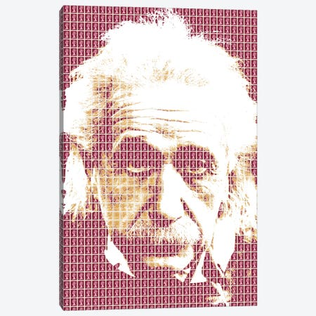 Einstein Maroon Canvas Print #GHO11} by Gary Hogben Canvas Art