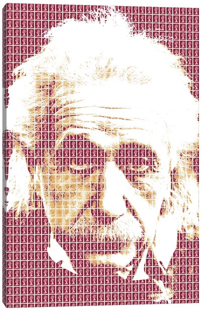 Einstein Maroon Canvas Art Print