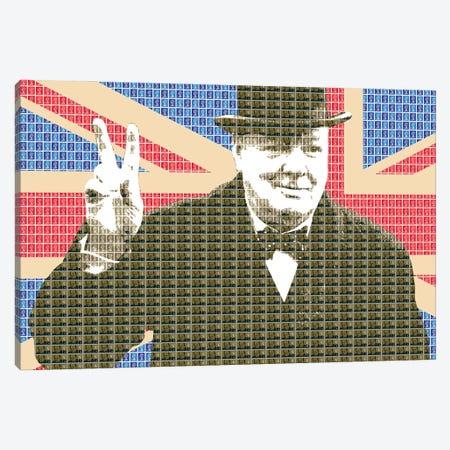 Churchill Victory Union Jack Canvas Print #GHO121} by Gary Hogben Art Print