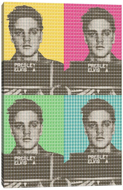 Elvis Army Mug Shot X 4 Canvas Art Print