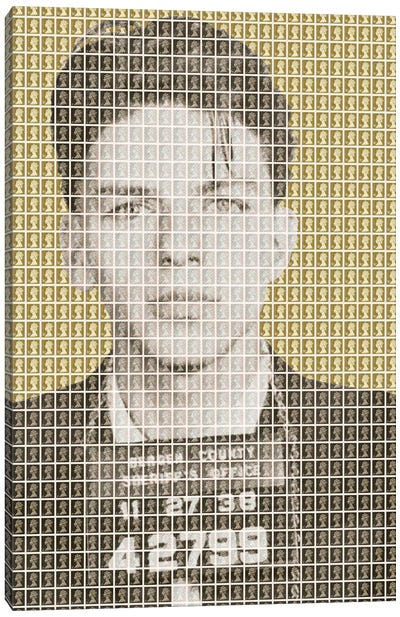 Frank Sinatra Mug Shot - Gold Canvas Art Print