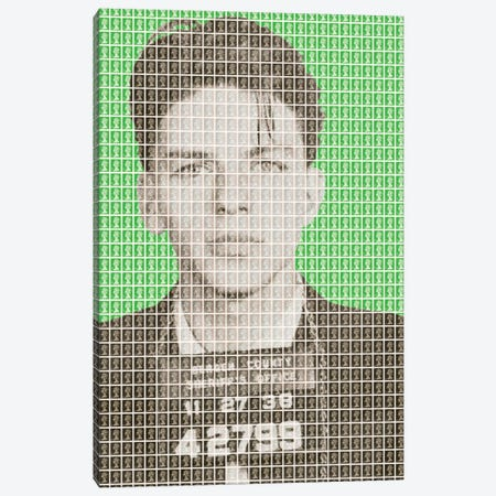 Frank Sinatra Mug Shot - Green Canvas Print #GHO17} by Gary Hogben Art Print