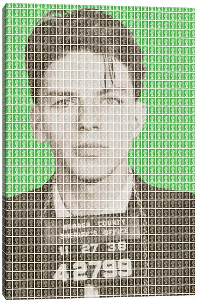 Frank Sinatra Mug Shot - Green Canvas Art Print