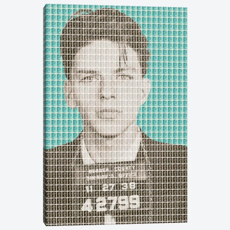 Frank Sinatra Mug Shot - Light Blue Canvas Print #GHO18} by Gary Hogben Canvas Art