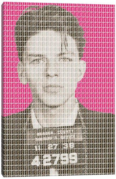 Frank Sinatra Mug Shot - Pink Canvas Art Print