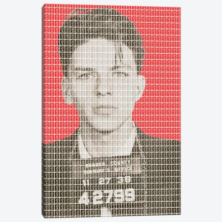 Frank Sinatra Mug Shot - Red Canvas Print #GHO20} by Gary Hogben Canvas Art Print