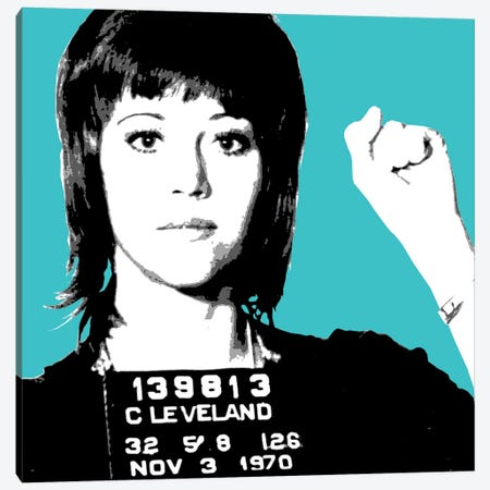 Jane Fonda Mug Shot - Blue Canvas Print #GHO38} by Gary Hogben Canvas Wall Art