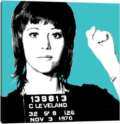 Jane Fonda Mug Shot - Blue Canvas Art Print