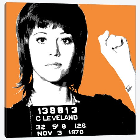 Jane Fonda Mug Shot - Orange Canvas Print #GHO39} by Gary Hogben Canvas Art