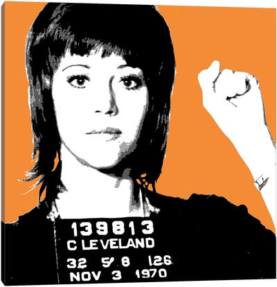 Jane Fonda Mug Shot - Orange Canvas Art Print