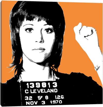 Jane Fonda Mug Shot - Orange Canvas Art Print