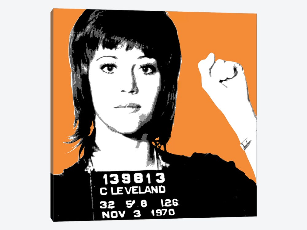 Jane Fonda Mug Shot - Orange by Gary Hogben 1-piece Canvas Wall Art