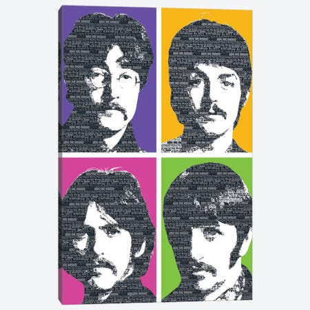 Beatles X 4 Canvas Print #GHO6} by Gary Hogben Canvas Wall Art