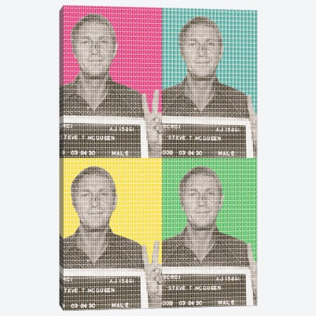 Steve Mcqueen Mug Shot X 4 Canvas Print #GHO84} by Gary Hogben Canvas Wall Art
