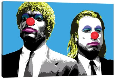 The Clowns Are Coming To Get You - Blue Canvas Art Print