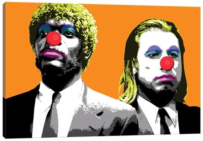 The Clowns Are Coming To Get You - Orange Canvas Art Print