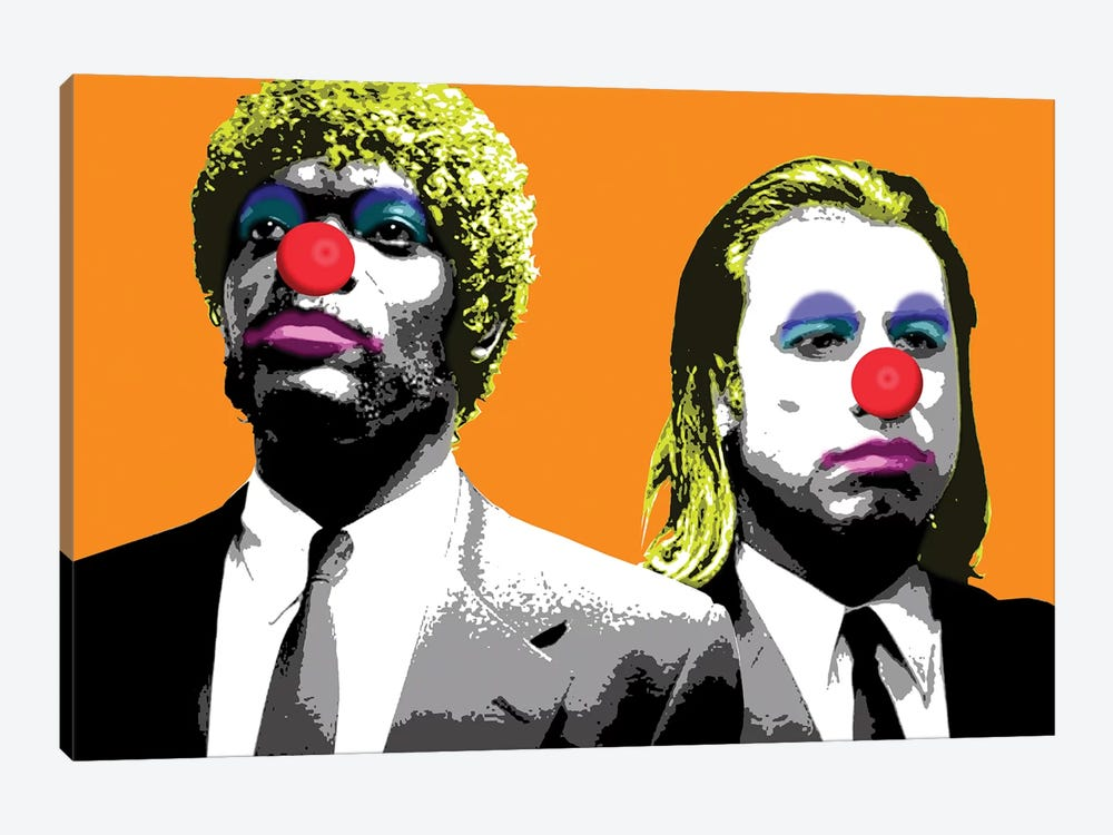 The Clowns Are Coming To Get You - Orange by Gary Hogben 1-piece Canvas Print