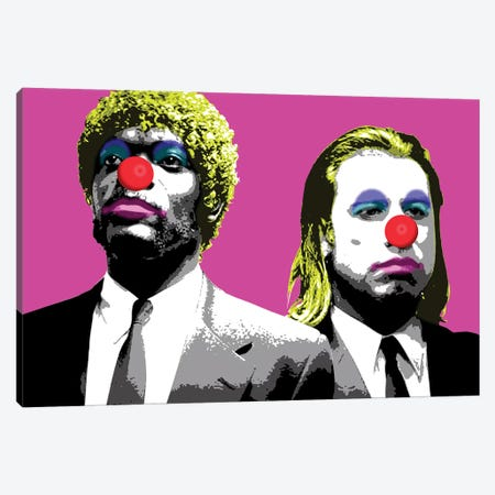 The Clowns Are Coming To Get You - Pink Canvas Print #GHO88} by Gary Hogben Art Print