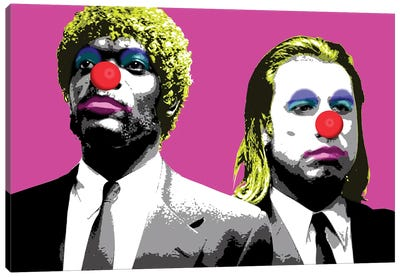 The Clowns Are Coming To Get You - Pink Canvas Art Print
