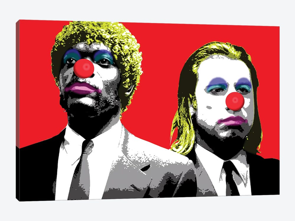 The Clowns Are Coming To Get You - Red by Gary Hogben 1-piece Art Print
