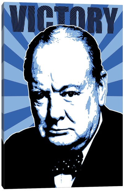 Churchill Victory - Blue Canvas Art Print