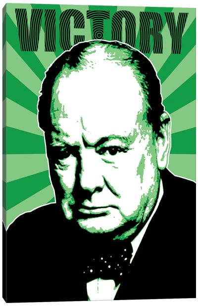 Churchill Victory - Green Canvas Art Print