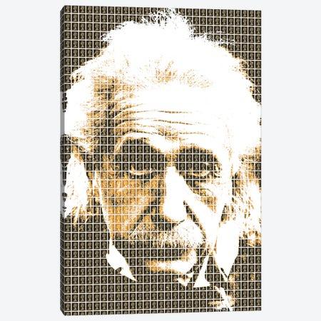 Einstein Black Canvas Print #GHO9} by Gary Hogben Art Print