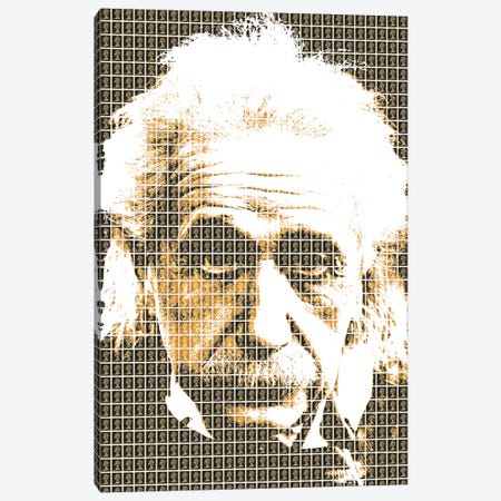 Einstein Black Canvas Print #GHO9} by Gary Hogben Art Print