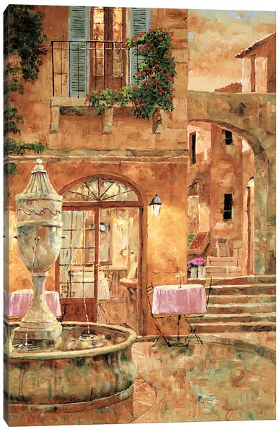 Evening At The Fountain Canvas Art Print