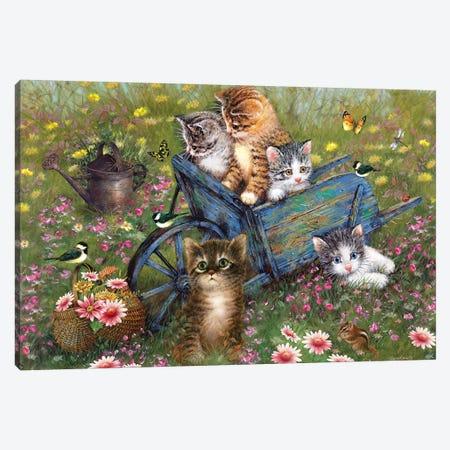 Wheelbarrow Kitties Canvas Print #GIO104} by Giordano Studios Canvas Artwork