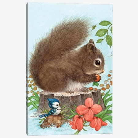 Playfull Squirrel Canvas Print #GIO11} by Giordano Studios Canvas Art Print