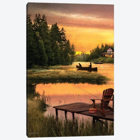 Lakside Reflection Canvas Print #GIO139} by Giordano Studios Canvas Wall Art