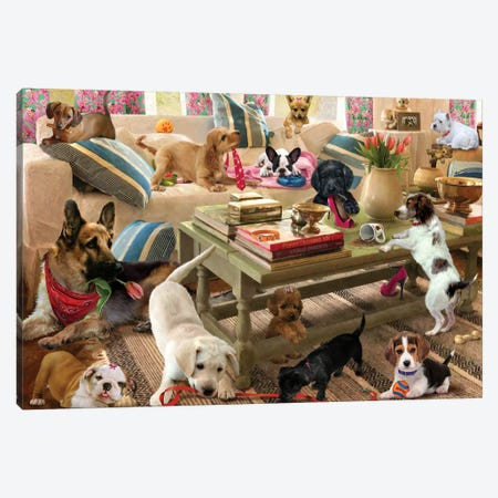 Playtime Puppies Canvas Print #GIO155} by Giordano Studios Canvas Print