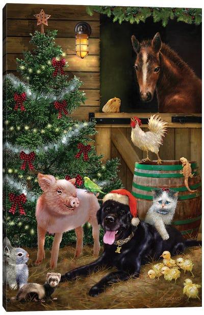 A Pet for Christmas Canvas Art Print