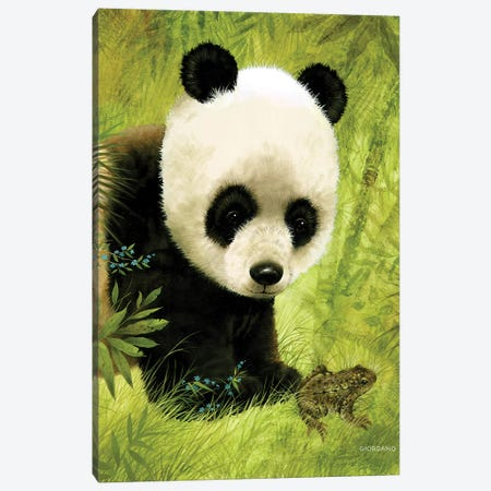 Panda's Visitor Canvas Print #GIO19} by Giordano Studios Canvas Art Print