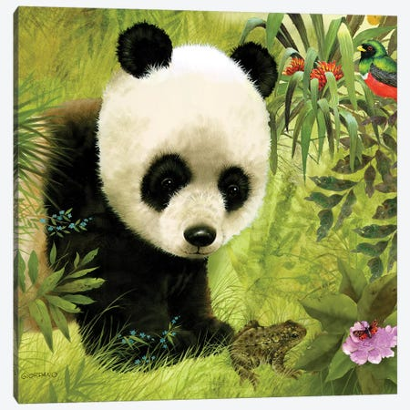 Panda's Visitor Full Canvas Print #GIO20} by Giordano Studios Canvas Art