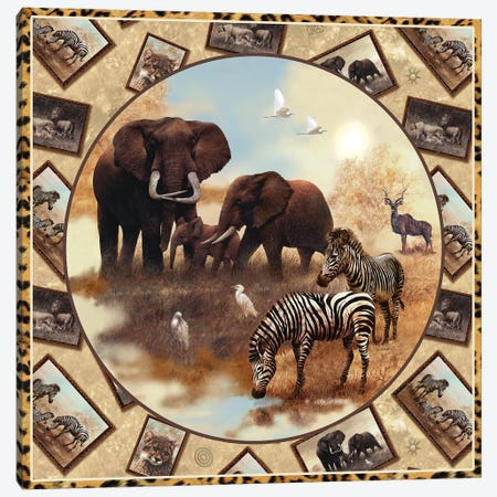 Safari Square Circle Canvas Print #GIO23} by Giordano Studios Canvas Art