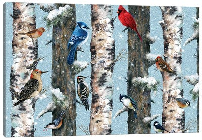 Songbirds In The Forest Canvas Art Print