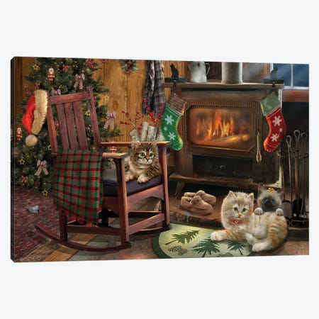 Fireside Kitties Canvas Print #GIO51} by Giordano Studios Canvas Art Print