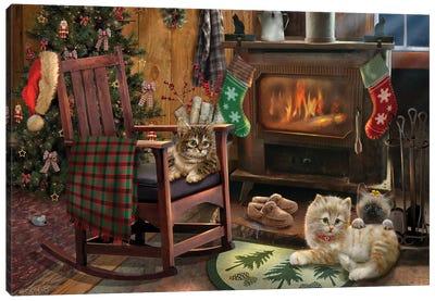 Fireside Kitties Canvas Art Print