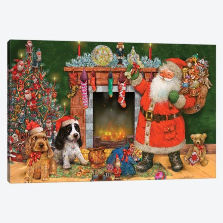 Good Dogs For Santa Canvas Print #GIO56} by Giordano Studios Canvas Art