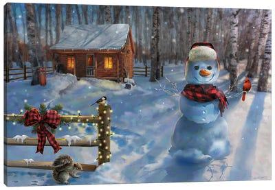 Moonlit Cabin Retreat Canvas Art Print
