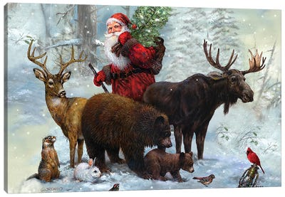 Santa's Best Friends Canvas Art Print