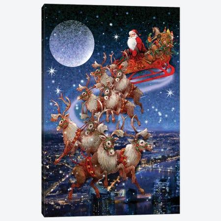 Santa's Sleighride Canvas Print #GIO68} by Giordano Studios Canvas Artwork