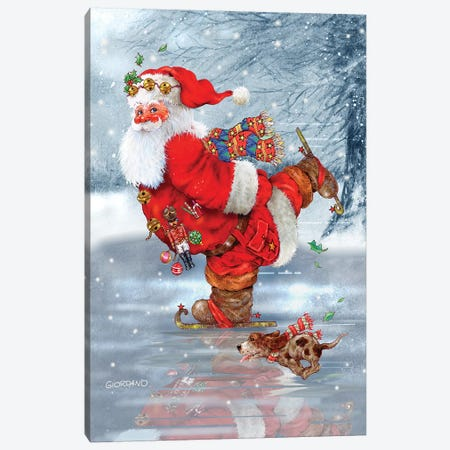 Skating Santa Canvas Print #GIO70} by Giordano Studios Canvas Art Print