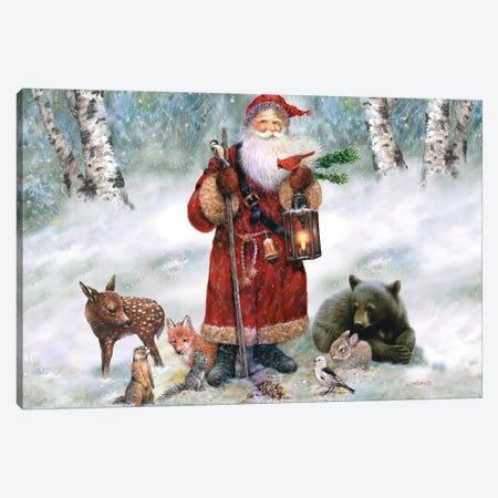 Woodland Santa Canvas Print #GIO80} by Giordano Studios Canvas Wall Art